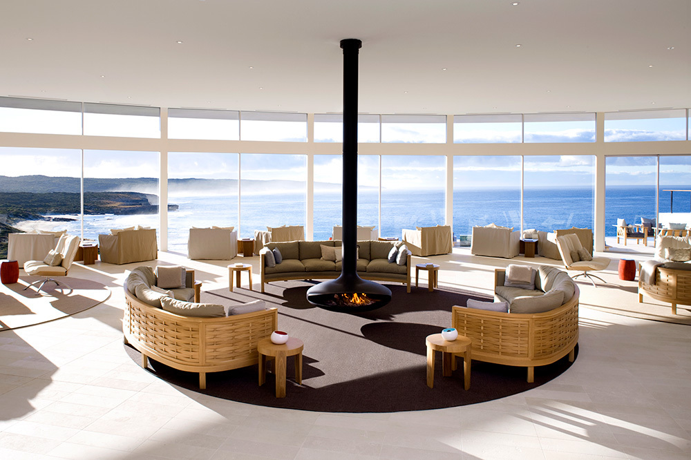 The great room at Southern Ocean Lodge in Kangaroo Island, Australia