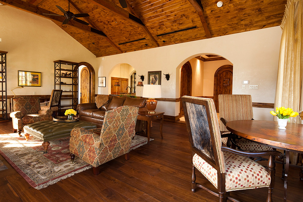 The living room of a Hacienda at The Inn at Dos Brisas in Washington, Texas