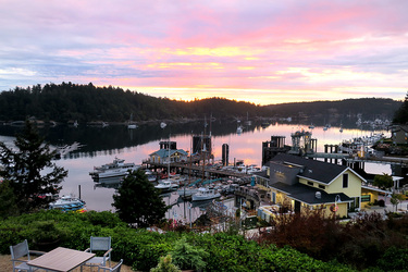 The view from the Harbor View Room at Friday Harbor House in Friday Harbor, Washington
