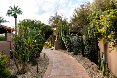A walkway through the grounds of Hermosa Inn in Paradise Valley, Arizona