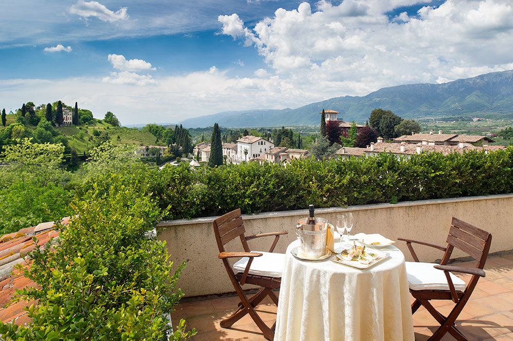 Panoramic views from the rooftop at Hotel Villa Cipriani in Veneto, Italy