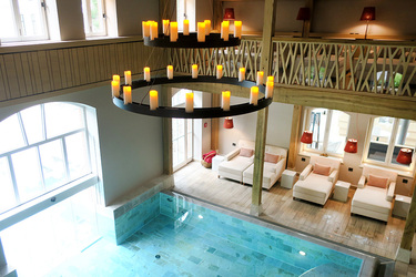 The indoor pool at the spa at Weissenhaus Grand Village Resort in Weissenhaus, Germany