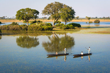 Mokoro dugout canoe tours in the safari at Jao Camp in Botswana, Africa