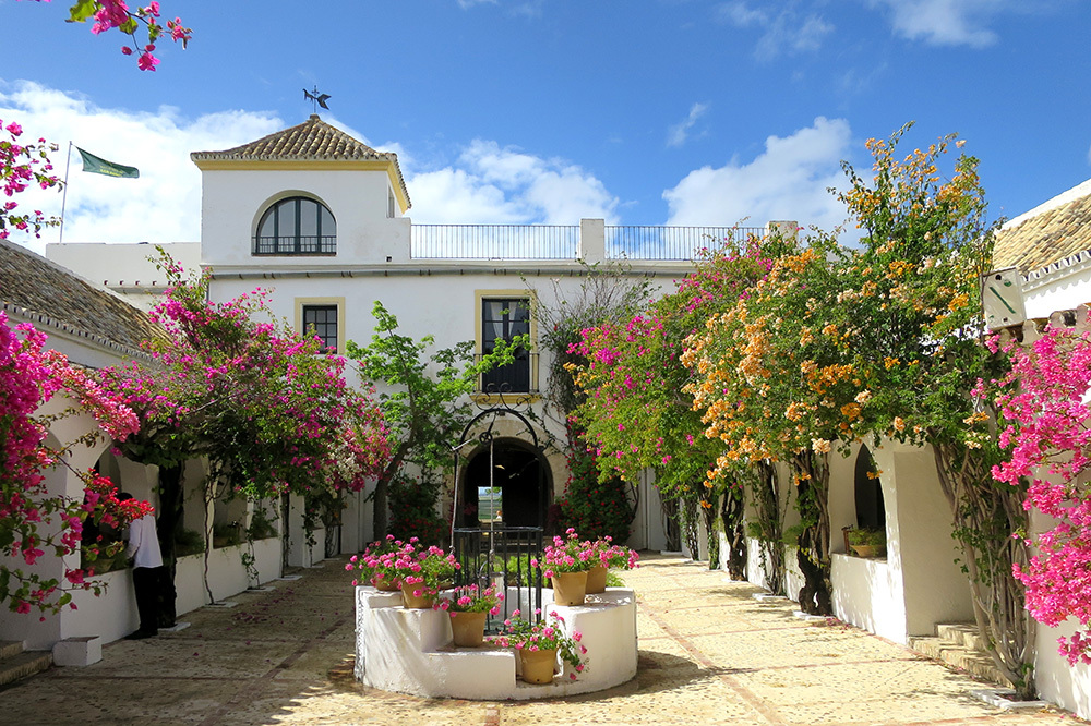 The exterior of Hacienda de San Rafael in Jerez, Spain