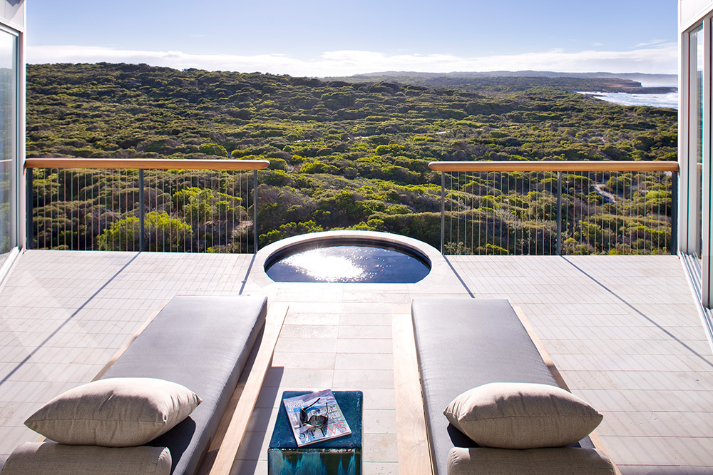 The patio of the Osprey Pavilion at Southern Ocean Lodge in Kangaroo Island, Australia