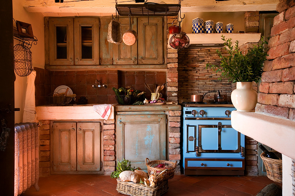 The kitchen in A Persia at Domaine de Murtoli in Sartène, Corsica, France