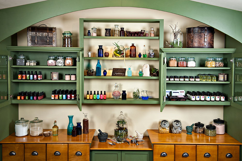 The L'Apothecary blending station at the spa at L'Auberge de Sedona in Sedona, Arizona