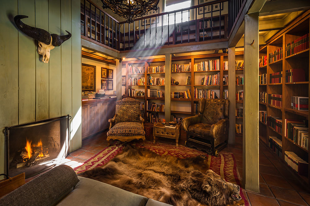 Fireside library at Dunton Hot Springs in Dolores, Colorado