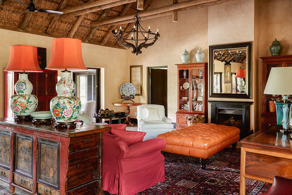 Royal Suite living room at Royal Malewane in South Africa