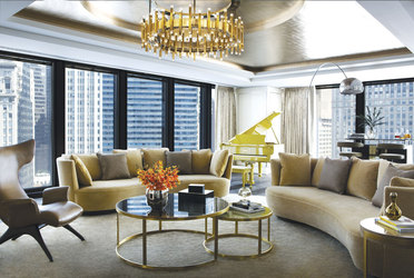 Infinity Suite living room  at The Langham Chicago