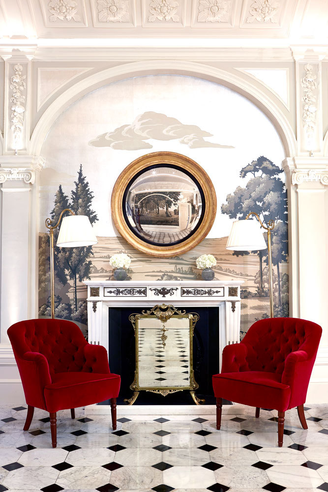 A fireplace in the Front Hall at The Goring in London, England