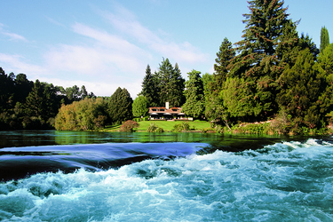 The exterior of Huka Lodge in Taupo, New Zealand