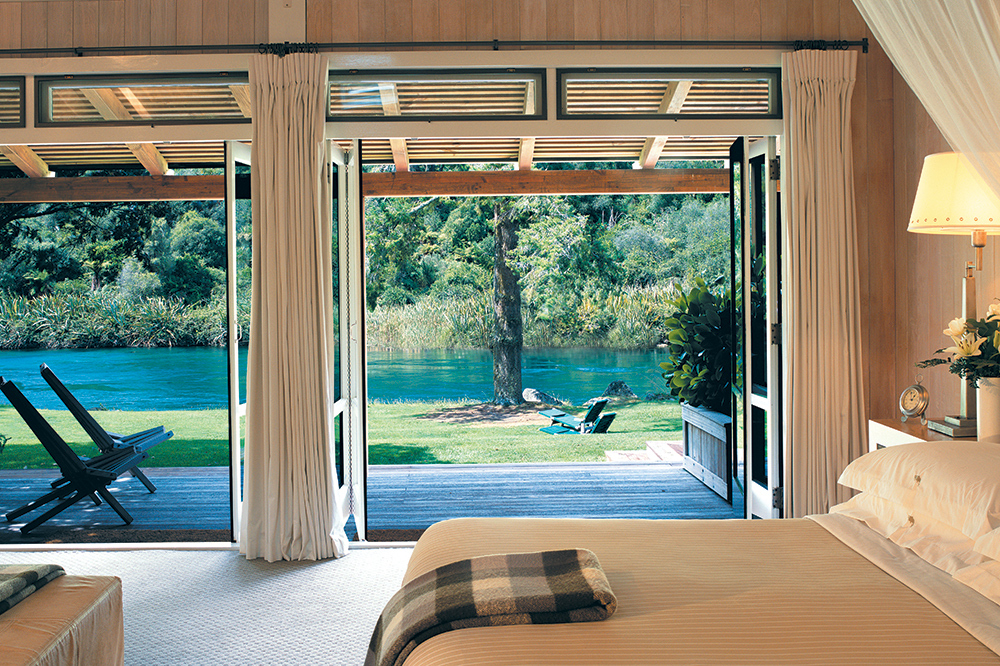 A Junior Lodge Suite room at Huka Lodge in Taupo, New Zealand