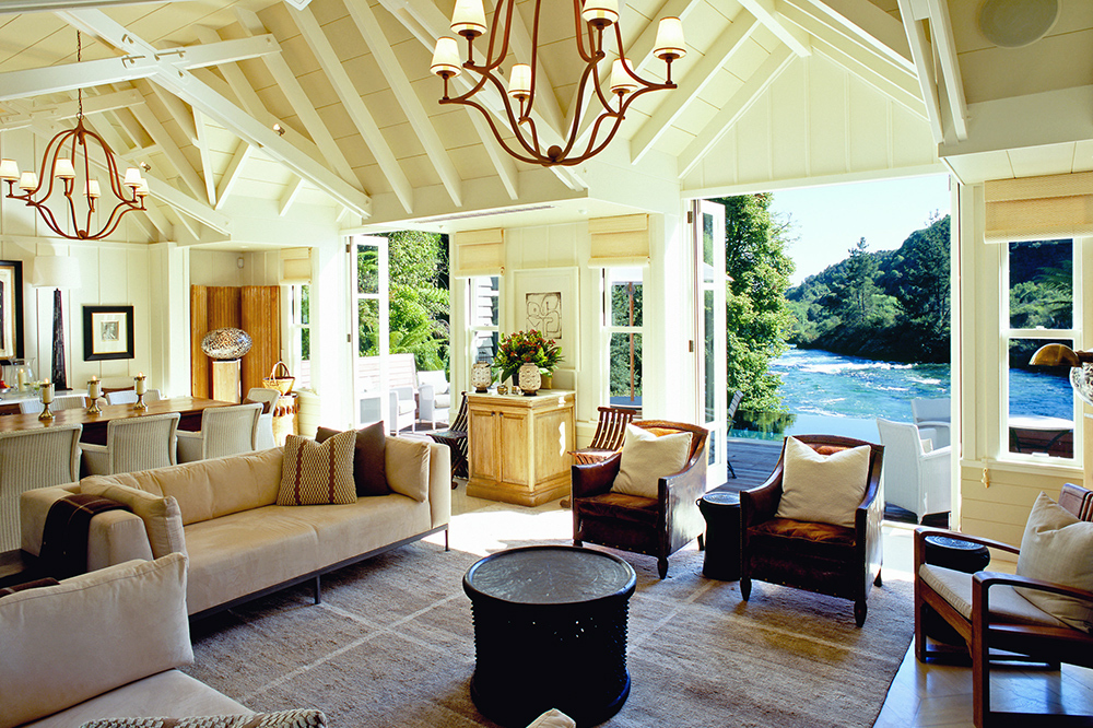 The living room of the Owner's Cottage at Huka Lodge in Taupo, New Zealand