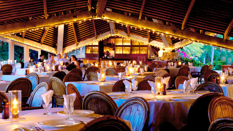 Little Dix Bay pavilion restaurant glow