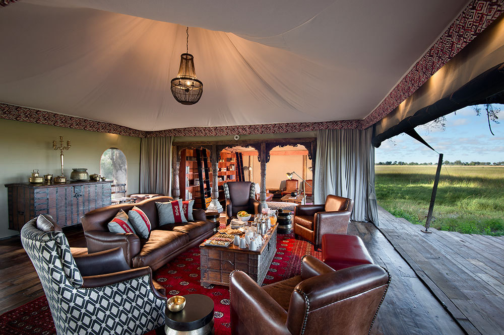 The lounge of the main area at Duba Plains Camp in Duba Plains Reserve, Botswana