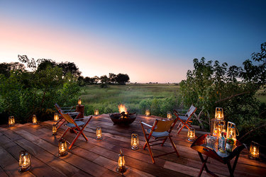 The view from the main deck at Duba Plains Camp in Duba Plains Reserve, Botswana