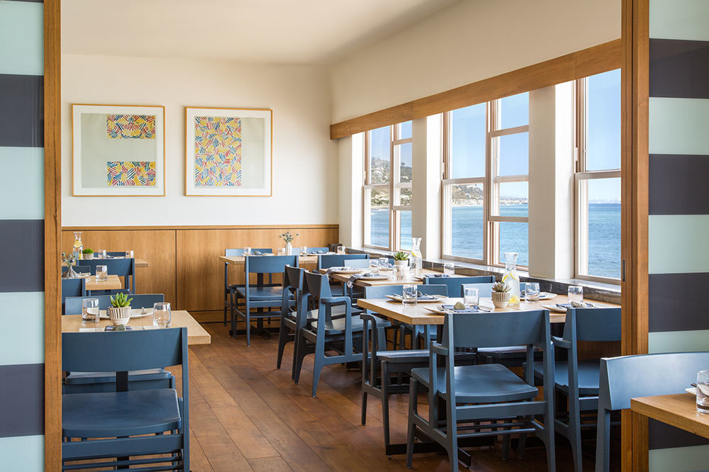 The dining room at the Carbon Beach Club Restaurant at Malibu Beach Inn in Malibu, California.