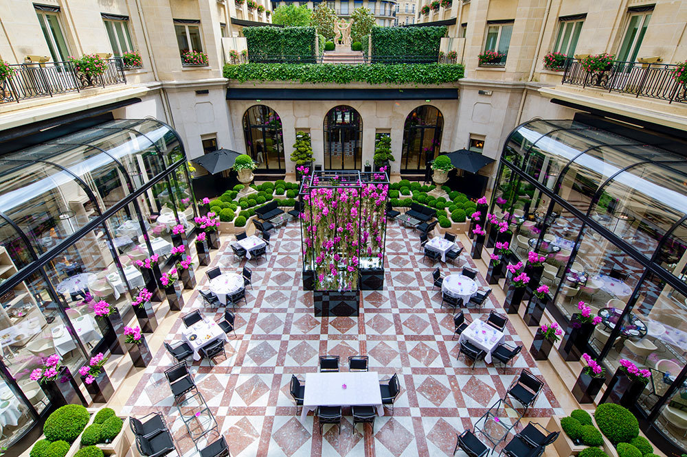 The courtyard at Four Seasons Hotel George V Paris