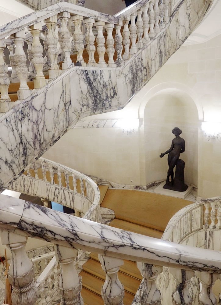 A marble staircase in the National Art Museum in Bucharest, Romania - Photo by Hideaway Report editor