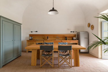 The kitchen of the Meadow Cottage at São Lourenço do Barrocal in Alentejo, Portugal.