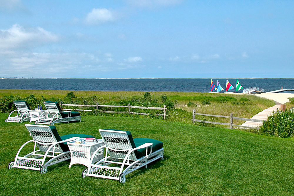 Chaise lounge chairs at The Wauwinet in Nantucket, Massachusetts