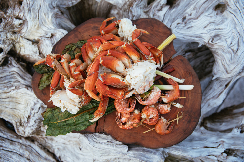 A seafood feast at Nimmo Bay Reserve in British Columbia, Canada