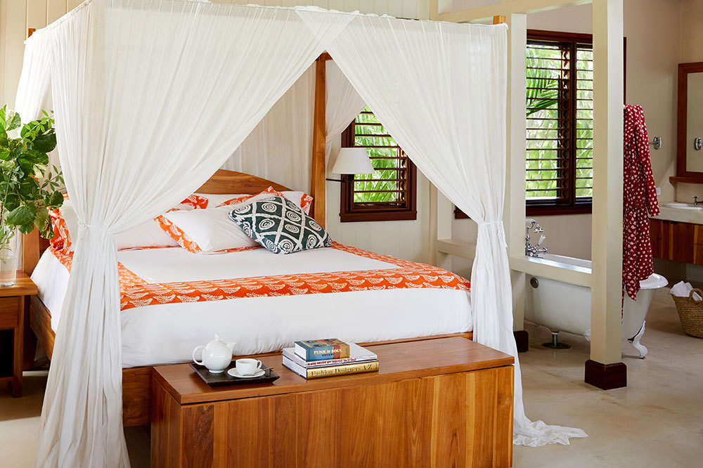 The bedroom of Beach Villa at GoldenEye in Oracabessa, Jamaica
