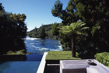 The infinity pool of the Owner's Cottage at Huka Lodge in Taupo, New Zealand