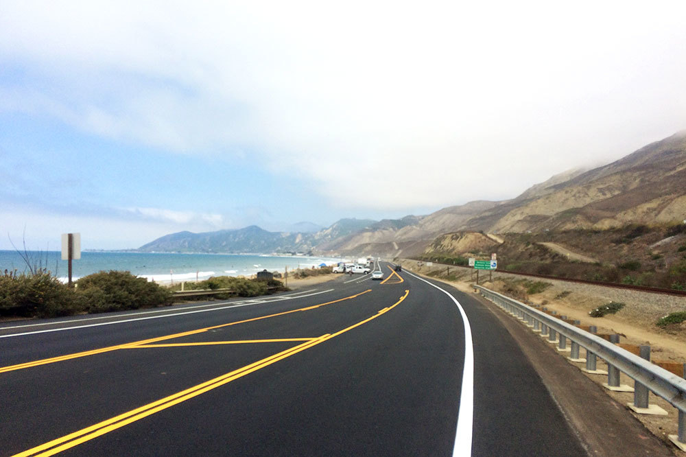 Driving up the Pacific Coast Highway in Ventura, California