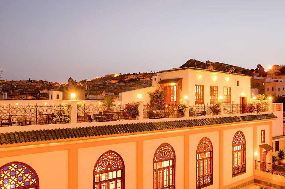 The Palais Amani Hotel at dusk in Fez, Morocco