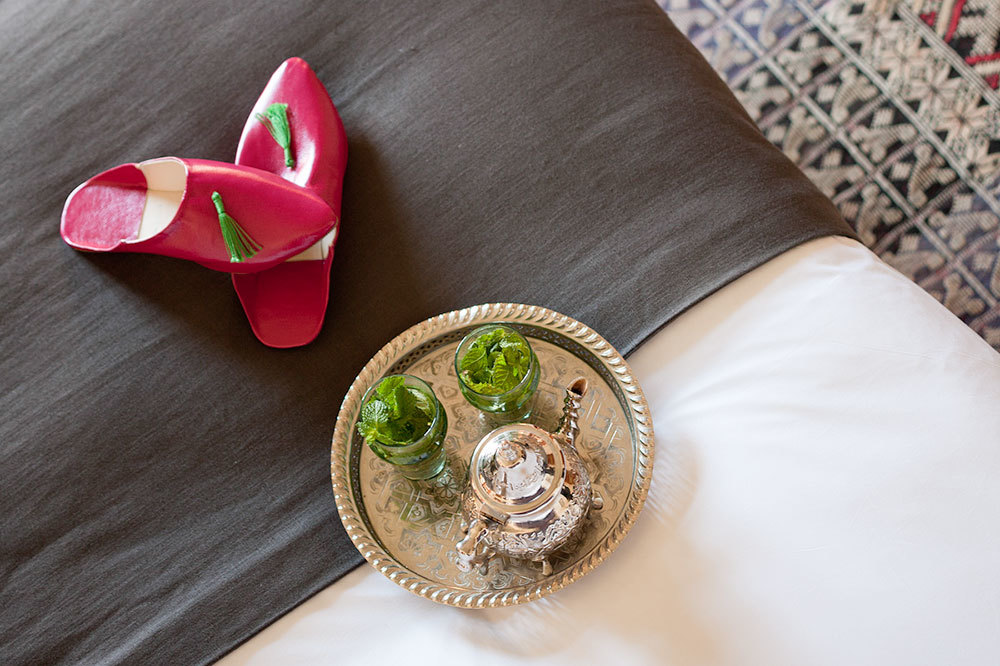 Tea and babouche slippers at the Palais Amani Hotel in Fez, Morocco