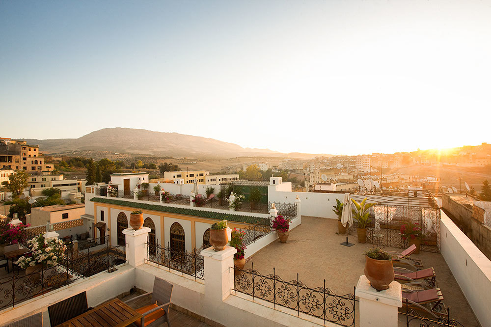 A Sunrise on the rooftop of the Palais Amani Hotel in Fez, Morocco