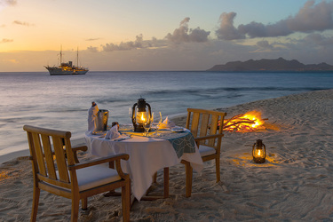 A private beach dinner at Petit St. Vincent on Petit St. Vincent Private Island, Saint Vincent and the Grenadines