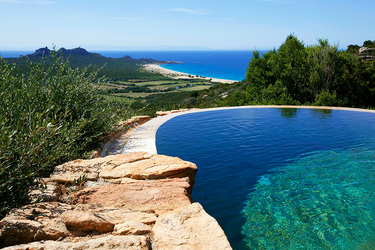 A pool at Domaine de Murtoli in Sartène, Corsica, France