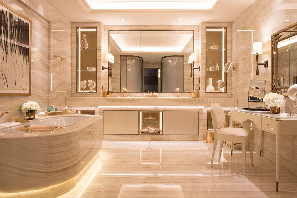The Presidential suite bath at Four Seasons Hotel George V Paris
