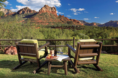 Lounge chairs with view of the Red Rocks at L'Auberge de Sedona in Sedona, Arizona