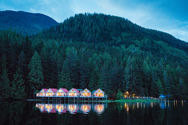 The view of Nimmo Bay Resort in British Columbia, Canada.