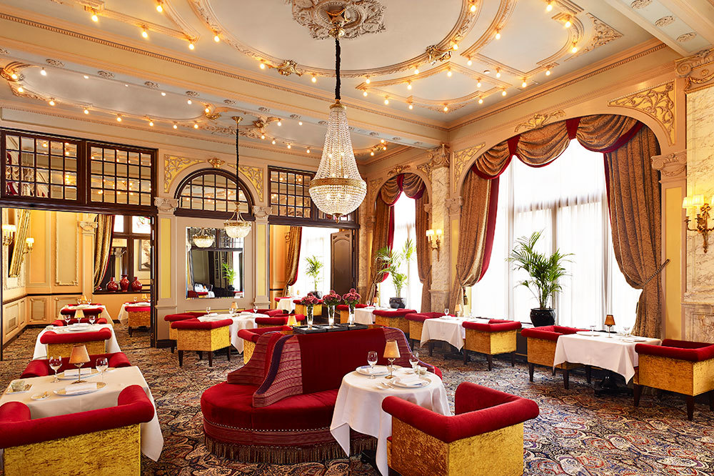 Restaurant Des Indes colorful dining hall at Hotel Des Indes, a Luxury Collection Hotel in The Hauge, Netherlands