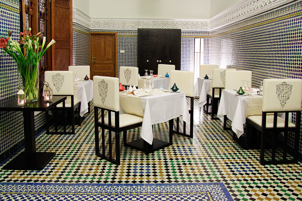 Restaurant dining at the Palais Amani Hotel in Fez, Morocco