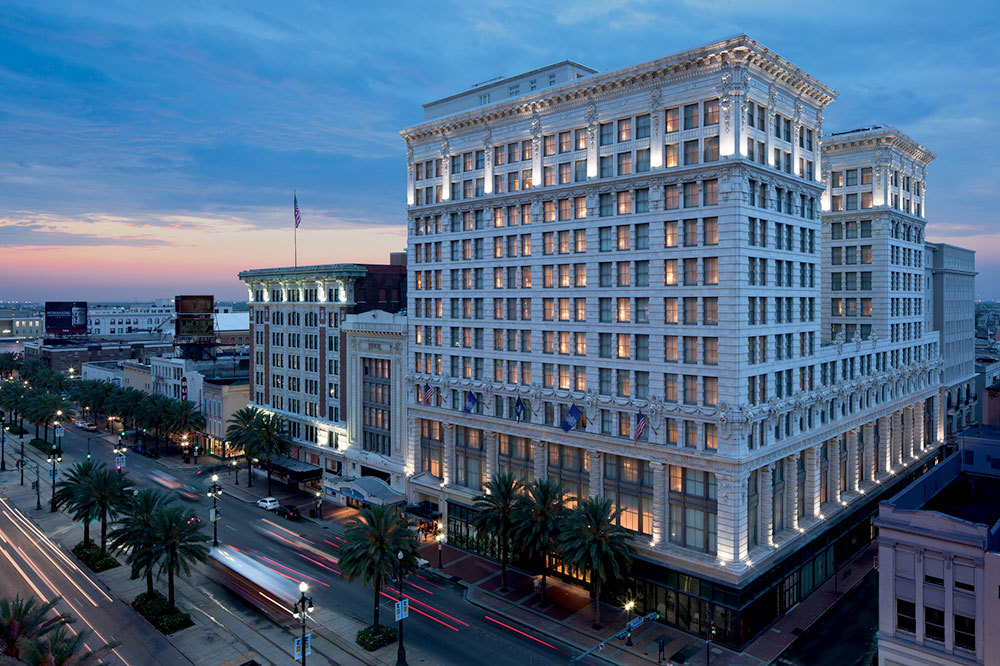 Exterior at sunset of The Ritz-Carlton's Maison Orleans in New Orleans, Louisiana