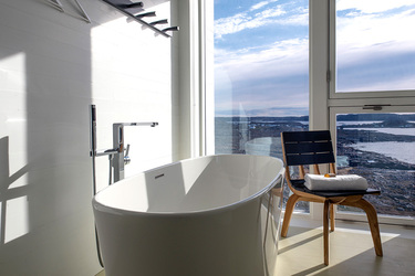 The bath of a suite at Fogo Island Inn on Fogo Island, Newfoundland, Canada