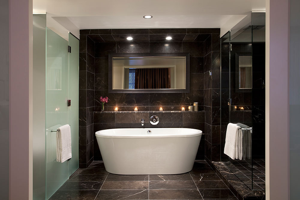 The bath of the Deluxe Room at The Rosewood Hotel Georgia in Vancouver, Canada