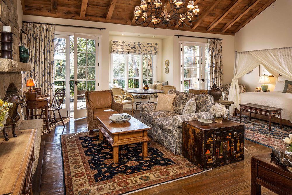 The living room of a Creekside Cottage at San Ysidro Ranch in Santa Barbara, California