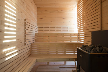 The sauna of the spa at Fogo Island Inn on Fogo Island, Newfoundland, Canada