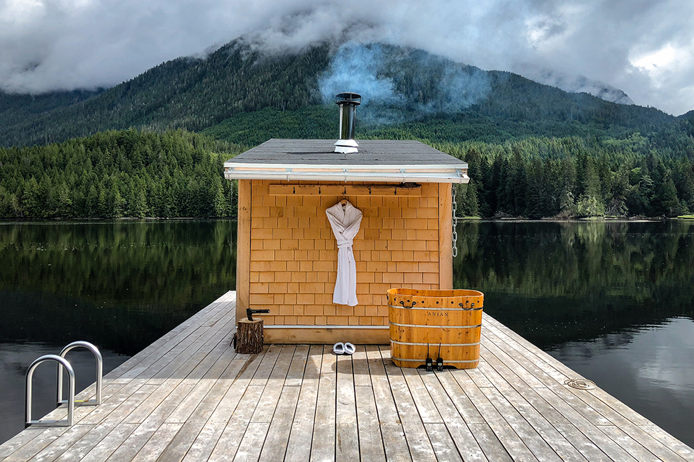 The sauna at Nimmo Bay Resort in British Columbia, Canada.