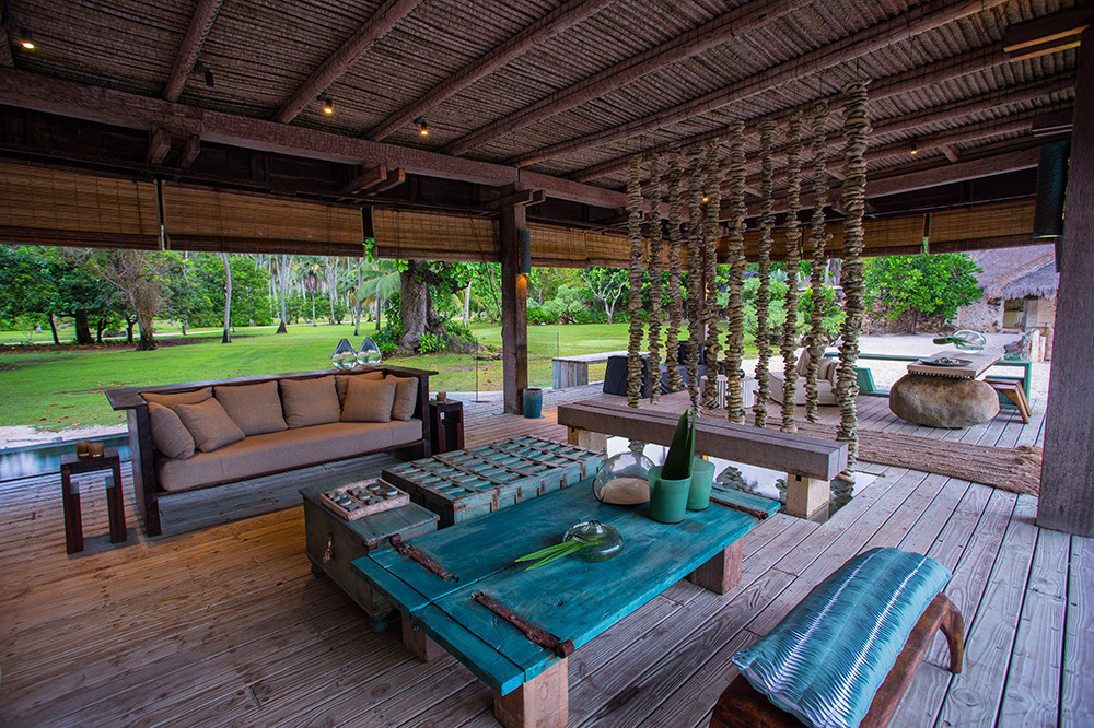 A seating area at North Island in Seychelles