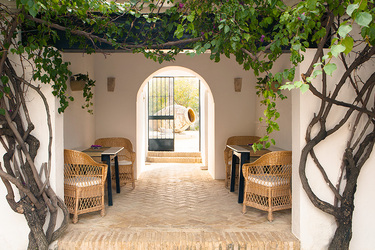 A courtyard at Hacienda de San Rafael in Seville, Spain