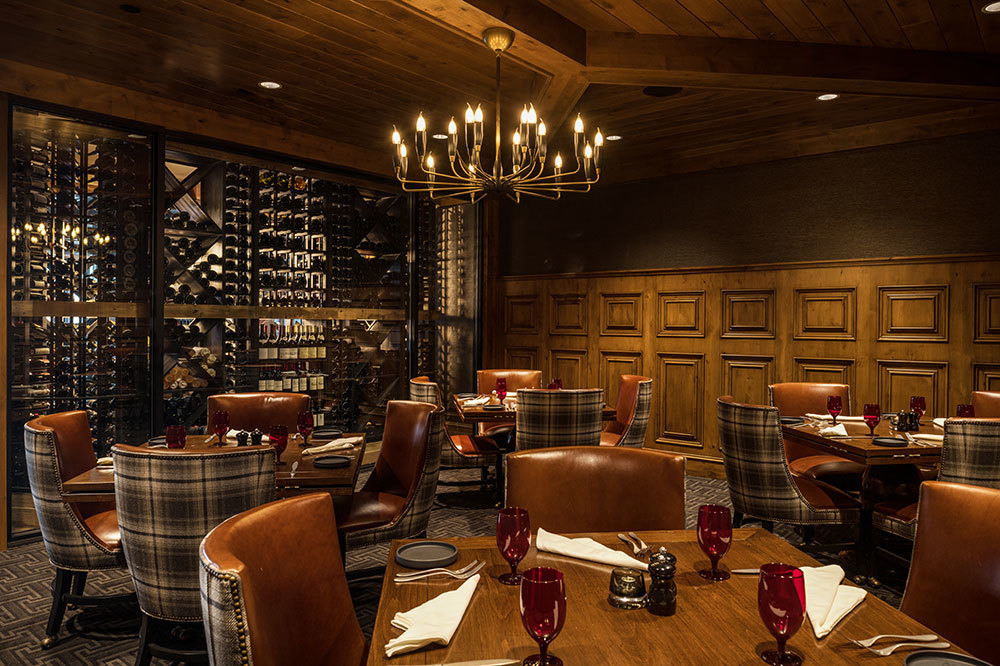 The dining room at The Narrows Steakhouse at the Shore Lodge in McCall, Idaho.