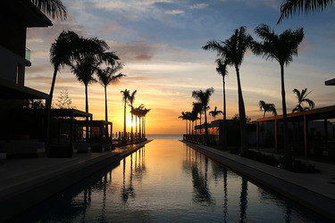 The pool at sunset at Silversands in Grand Anse Beach, Grenada.